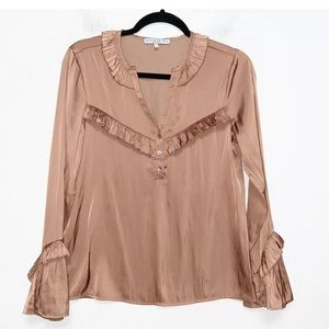 Current Air Brown Split Neck Ruffle Blouse